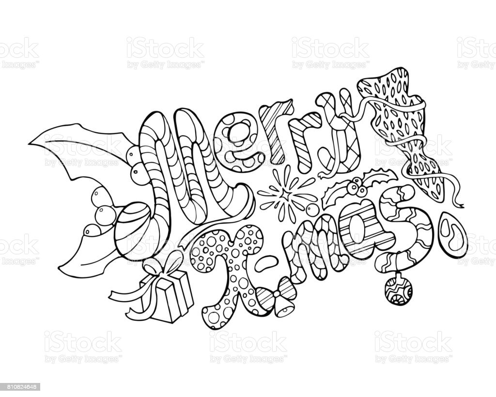 Merry Christmas Vector Illustration Handdrawn Lettering Merry ...