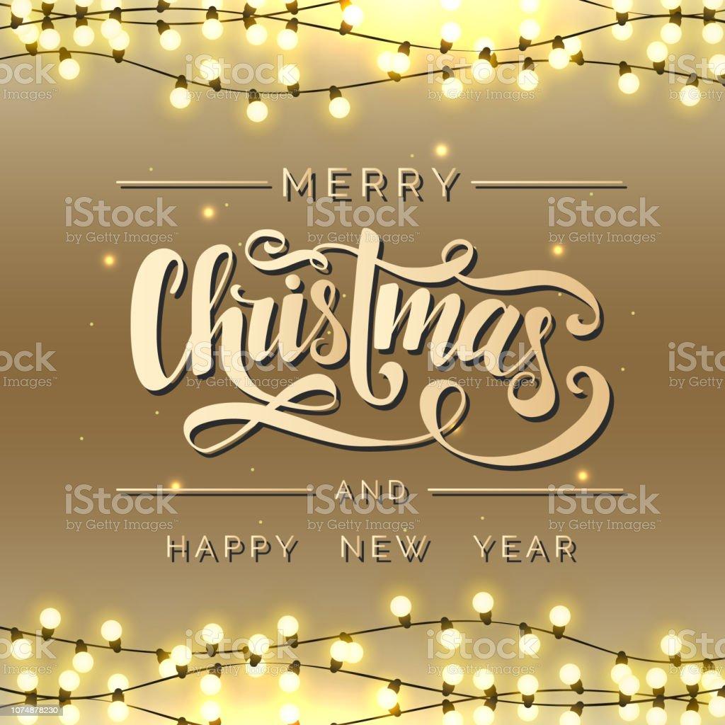 Schriftzug Frohe Weihnachten Beleuchtet.Frohe Weihnachten Vektorschriftzug Weihnachtenkalligraphie