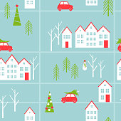 Merry Christmas vector  seamless pattern. Red car with a Christmas tree.  Winter town.