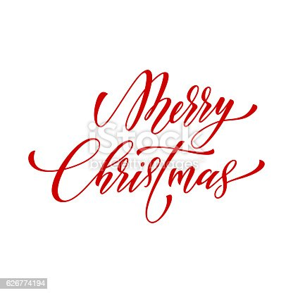 Merry Christmas Vector Text Calligraphy Lettering Design Greeting Stock Art More Images Of 626774194