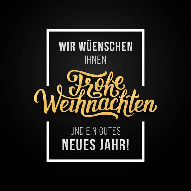Frohe Weihnachten vector typographic card Frohe Weihnachten phrase in frame on luxury black and golden color background. Premium vector illustration with Merry Christmas lettering weihnachten stock illustrations
