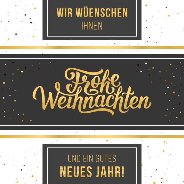 Frohe Weihnachten vector typographic card Frohe Weihnachten golden text in frame. Vintage vector greeting card design with hand letteting for winter holidays. weihnachten stock illustrations