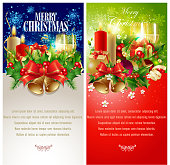 Merry Christmas Vertical Banners. Each element in a separate layers. Very easy to edit vector EPS10 file. It has transparency layers with blend effects.
