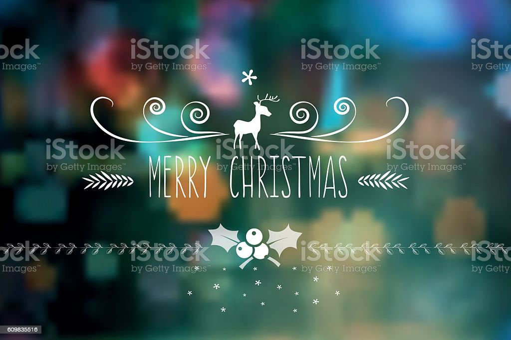 Merry Christmas Vintage Badge On Blurred Lights Royalty Free
