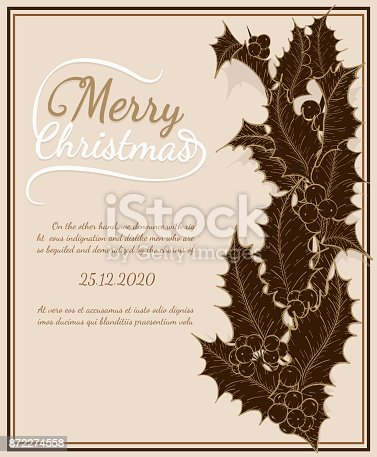 Merry christmas vintage card on brown background.Holly leaves art highly detailed in line art style.christmas card by hand drawing.