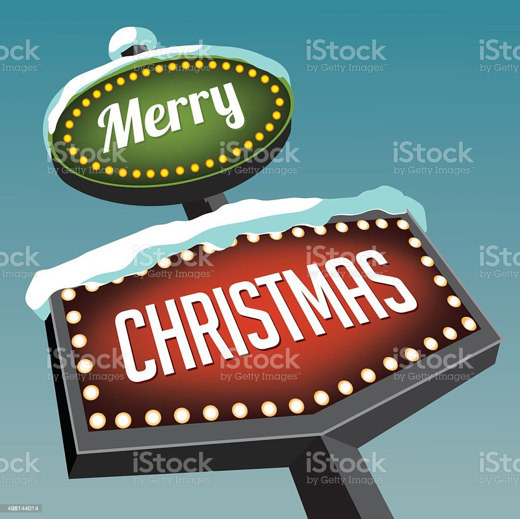Merry Christmas Vintage Christmas Road Sign Stock Vector Art More