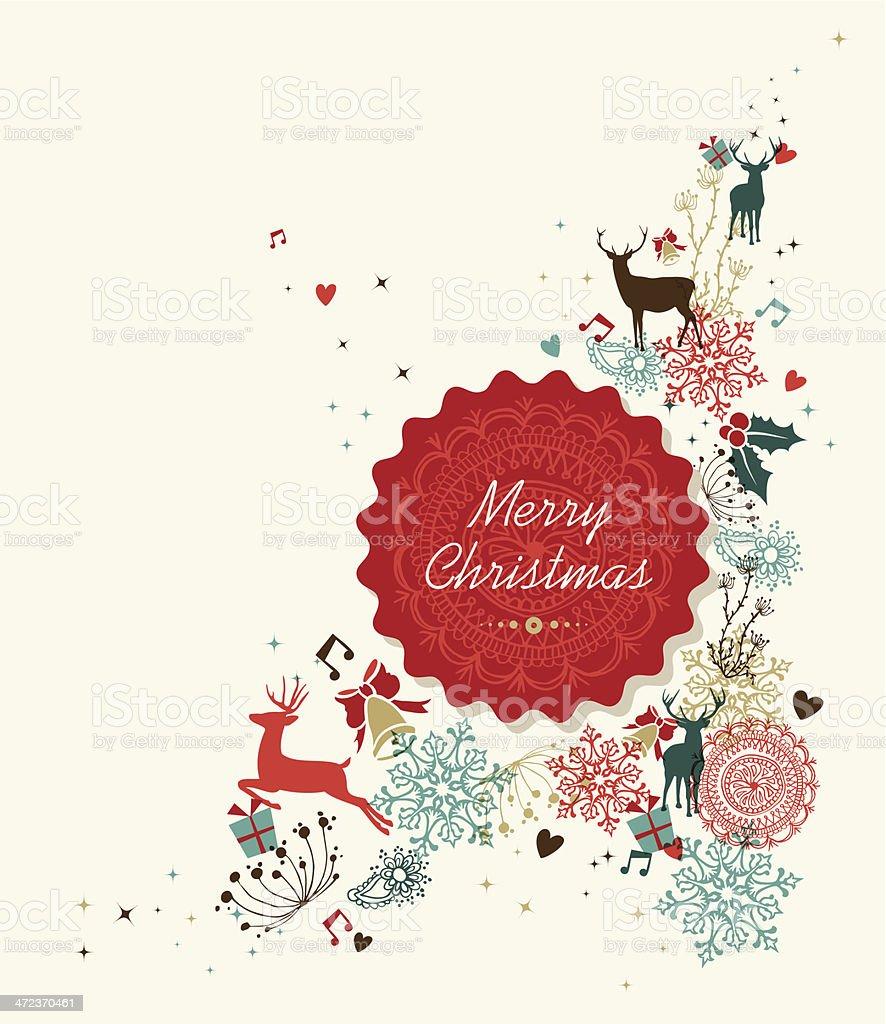 Vintage Bilder Weihnachten.Frohe Weihnachten Vintagecirclelabelgrafik Stock Vektor Art Und Mehr
