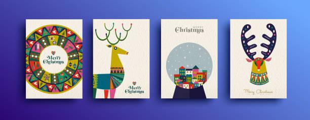 bildbanksillustrationer, clip art samt tecknat material och ikoner med merry christmas vintage diverse kort samling - christmas card