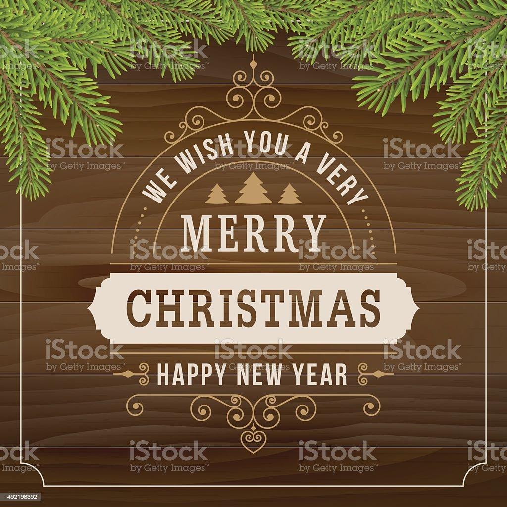 Buon Natale Vintage Linea Arte Su Sfondo Di Asse Di Legno - Immagini  vettoriali stock e altre immagini di 2015 - iStock