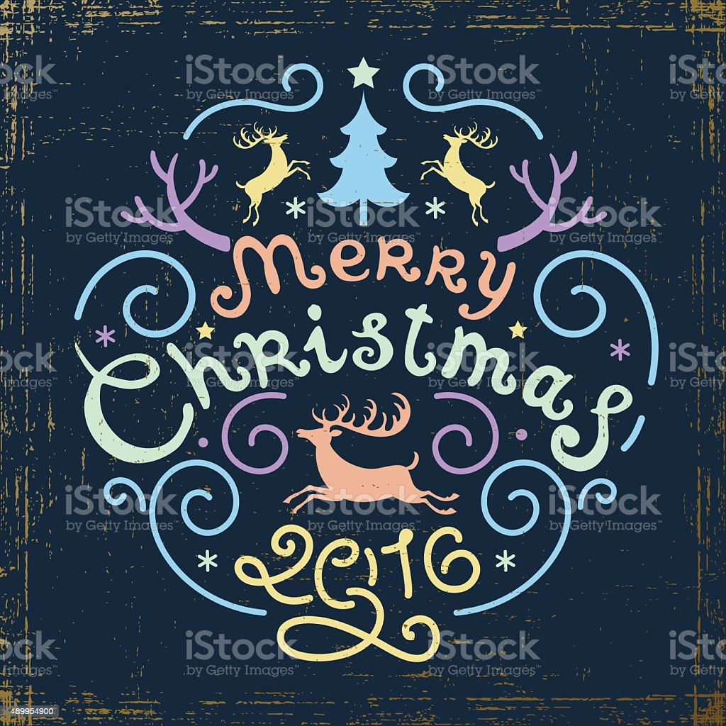 Merry Christmas Vintage Retro Typography Lettering Design Greeting Card Royalty Free