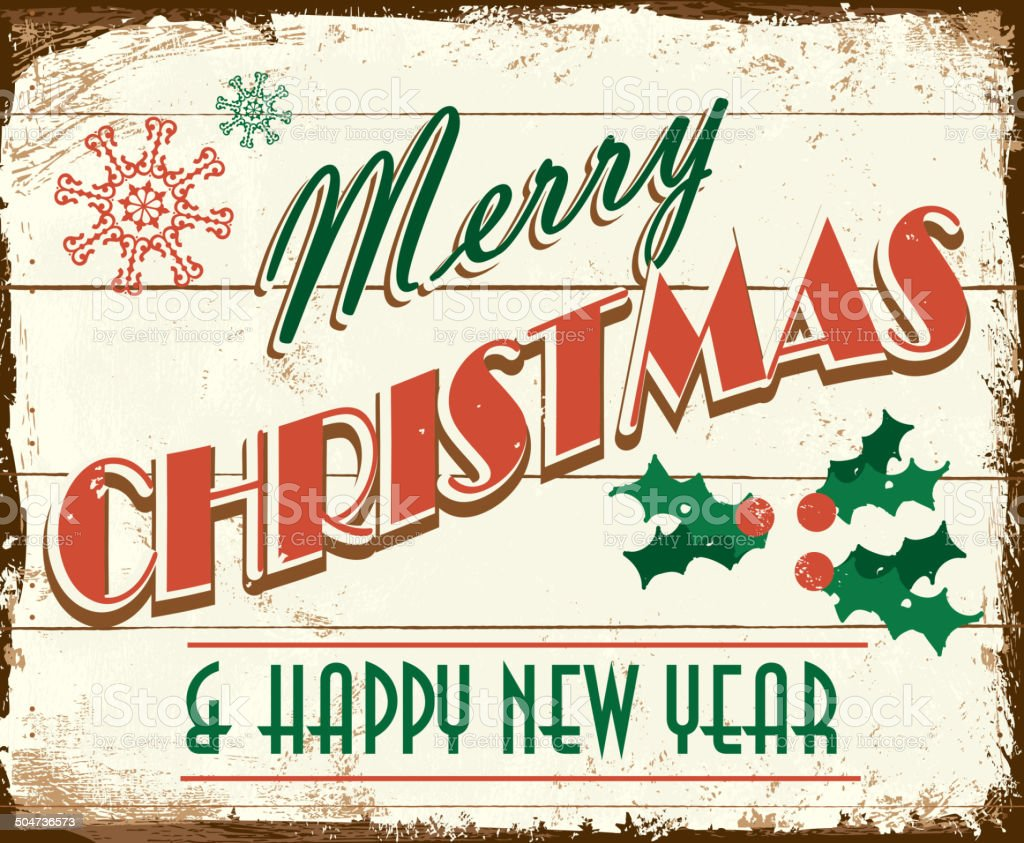 Merry Christmas Vintage Wooden Painted Sign Design Stock Vector Art
