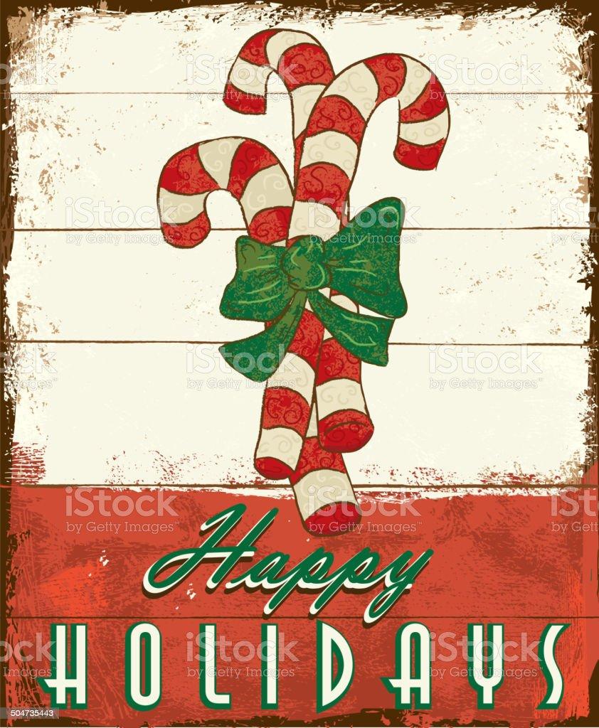 Buon Natale Vintage In Legno Dipinto Di Design Con Bastoncini Di Zucchero -  Immagini vettoriali stock e altre immagini di Arti e mestieri - iStock