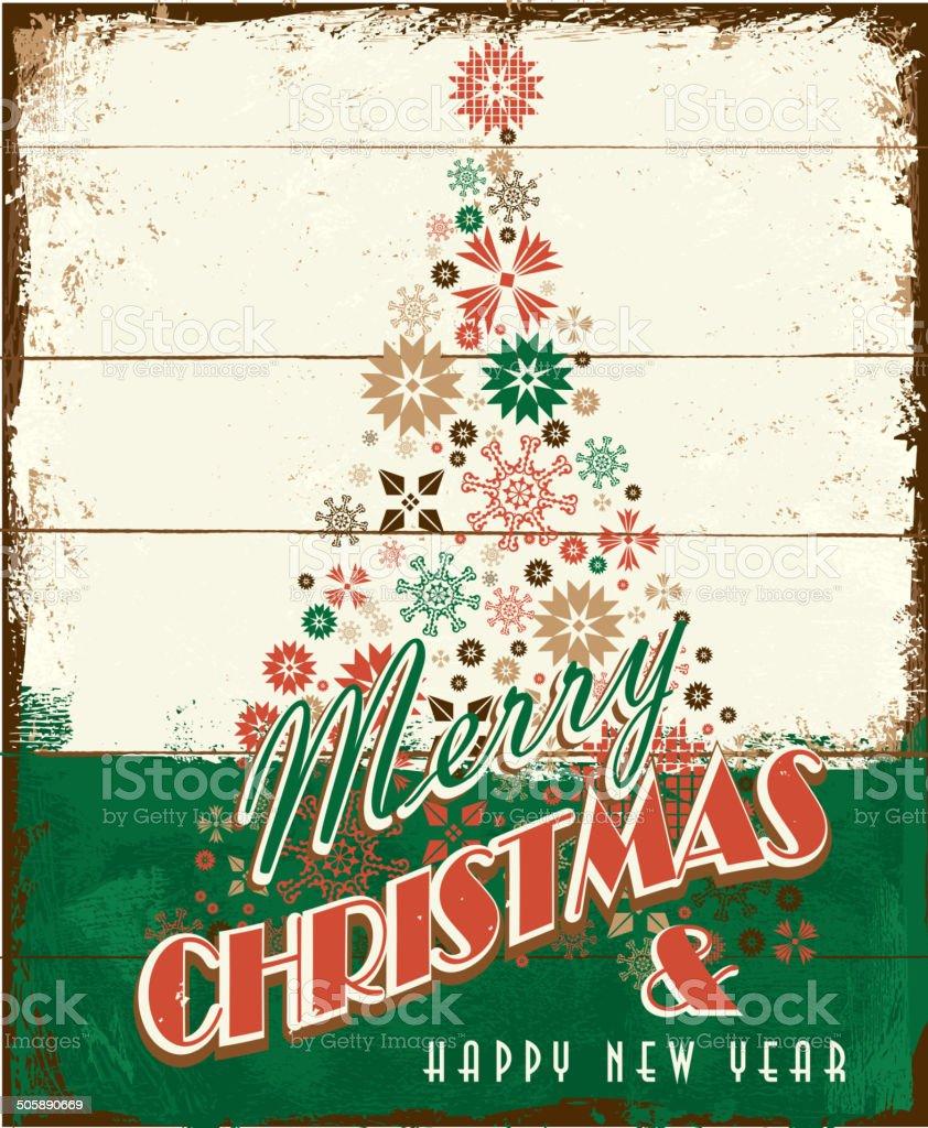 Buon Natale vintage in legno dipinto di progettazione con albero delle festività - arte vettoriale royalty-free di Albero