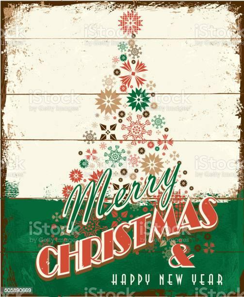 Buon Natale Vintage In Legno Dipinto Di Progettazione Con Albero Delle Festività - Immagini vettoriali stock e altre immagini di Albero