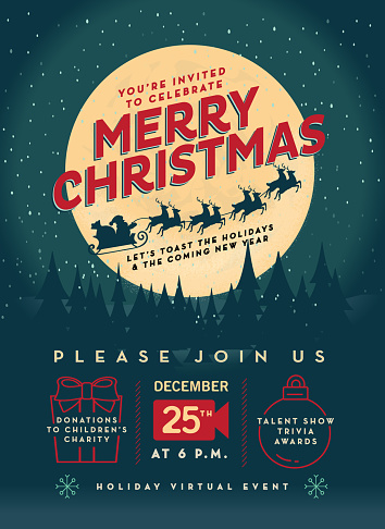Merry Christmas Virtual Event party invitation poster advertisement design template