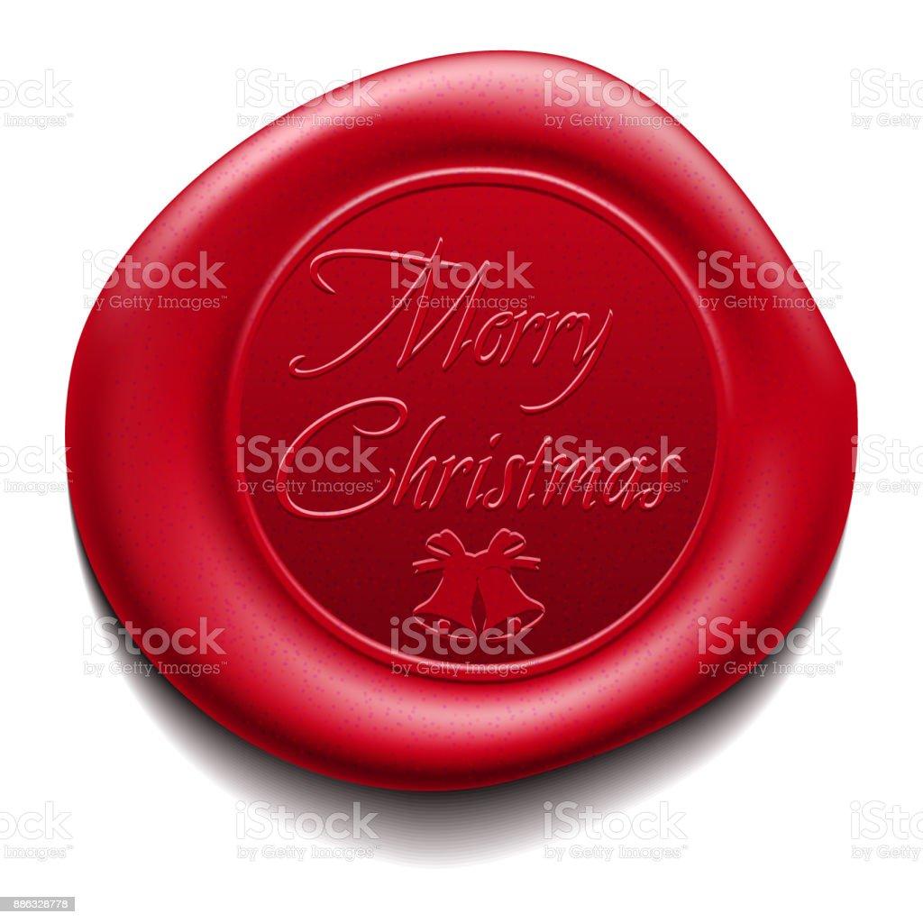 Merry Christmas wafer. Sealing wax. Vector Illustration vector art illustration
