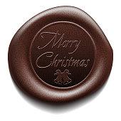 Merry Christmas wafer. Sealing wax. Vector Illustration