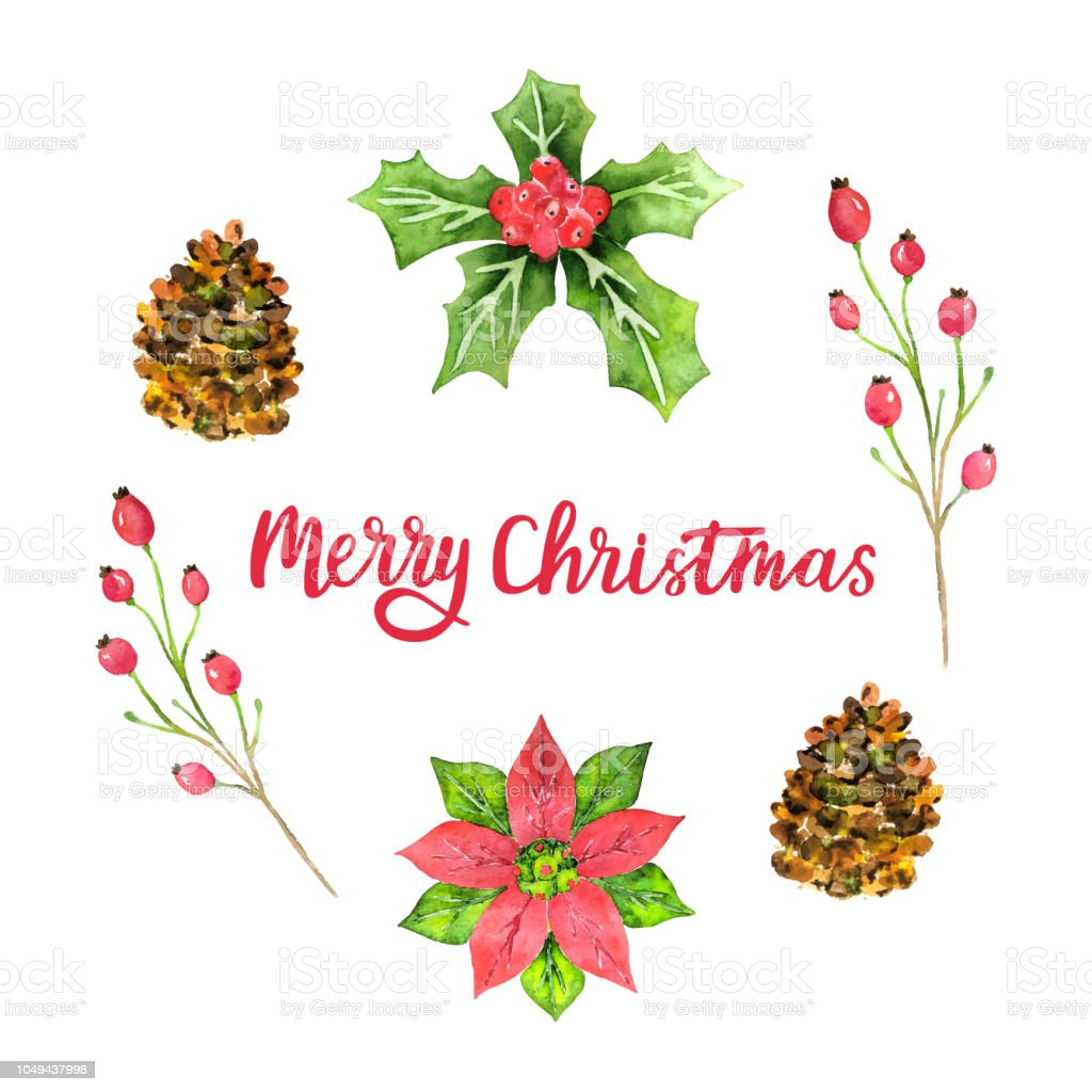 Merry Christmas Watercolor Greeting Card Design Template For