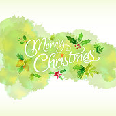 Merry Christmas watercolor painting