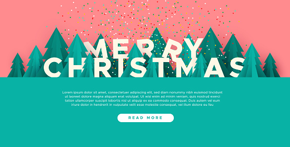 Merry Christmas web template paper cut pine tree