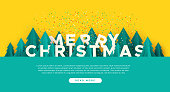 Merry Christmas web template illustration with 3d paper cut pine tree and festive confetti. Cute winter season forest landscape for landing page or online event.