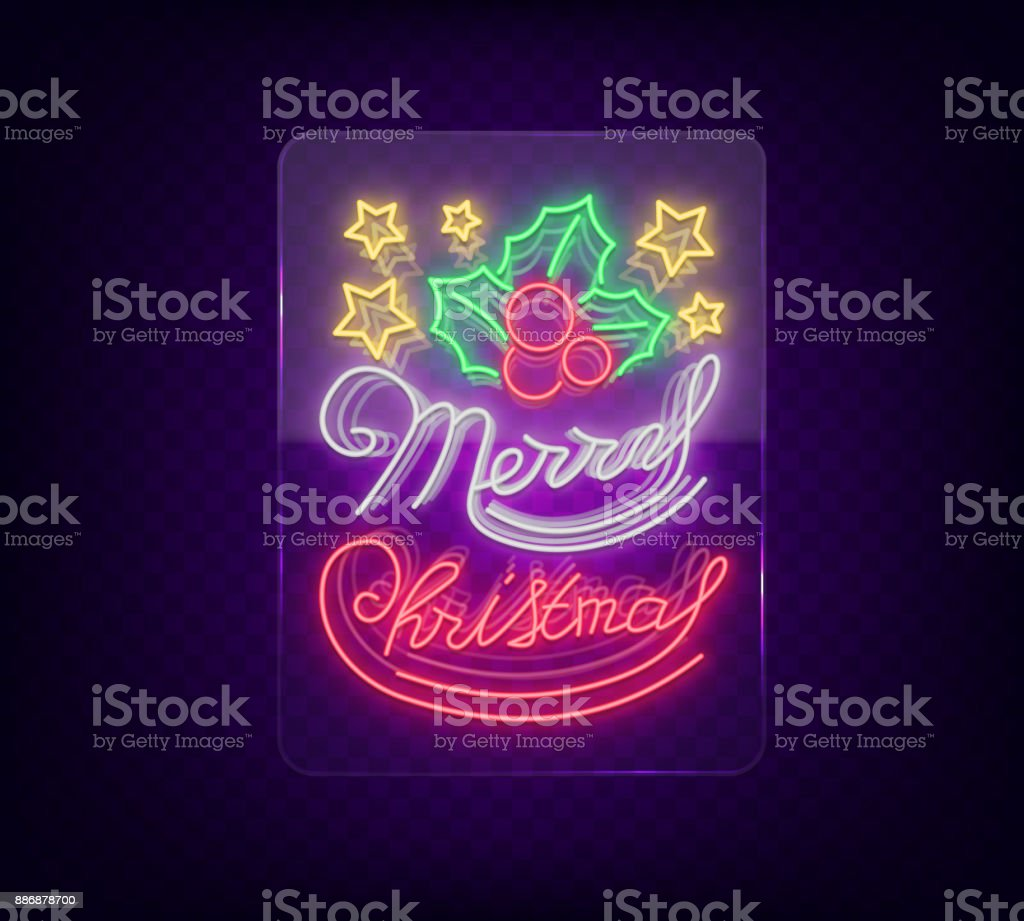 Christmas Done Bright.Merry Christmas Welcome Card Done In Neon Style Isolated Neon Sign On The Christmas Theme Bright Banner Bright Festive Night Sign Vector Illustration