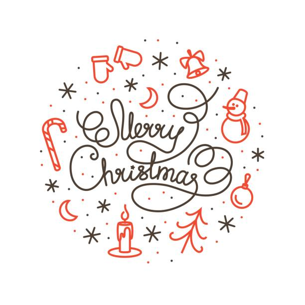 Merry Christmas white lettering design and the pattern in the background vector art illustration