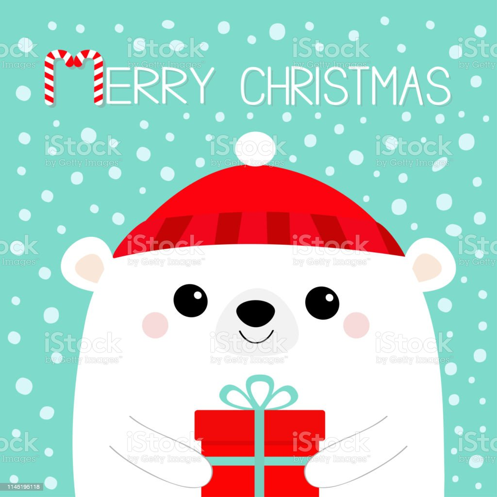 Joyeux Noël Ours Polaire Blanc Tête Visage Tenant