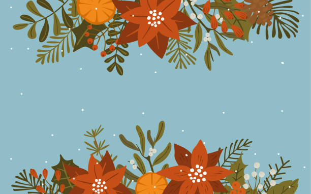merry christmas winter foliage flowers leaves branches and red berries header border, vector illustration background merry christmas winter foliage flowers leaves branches and red berries header border, vector illustration background australian christmas stock illustrations
