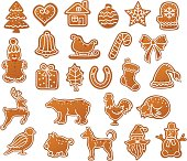 Merry Christmas Winter Gingerbread Cookies collection set