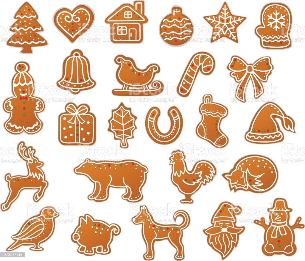 Merry Christmas Winter Gingerbread Cookies collection set vector art illustration