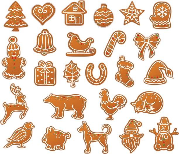 stockillustraties, clipart, cartoons en iconen met merry christmas winter peperkoek cookies collectie set - speculaas