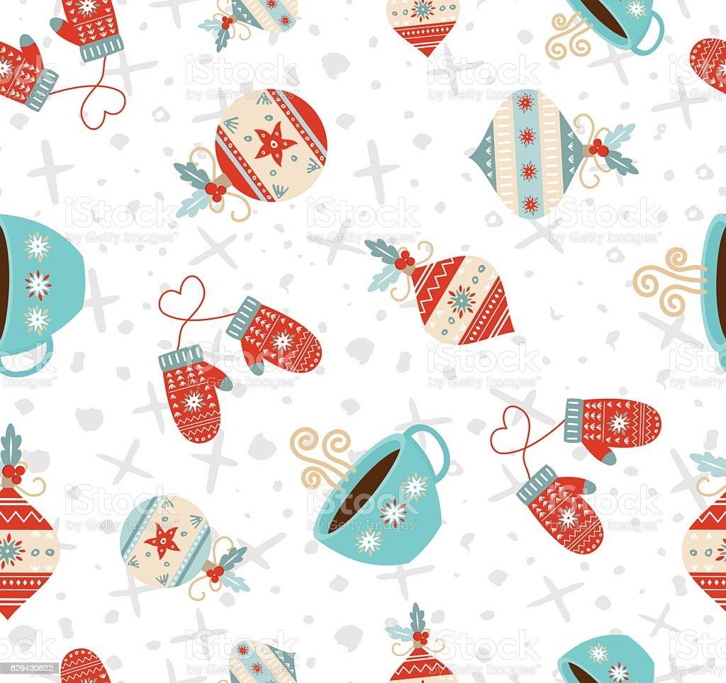 Merry Christmas winter holiday seamless pattern vector art illustration