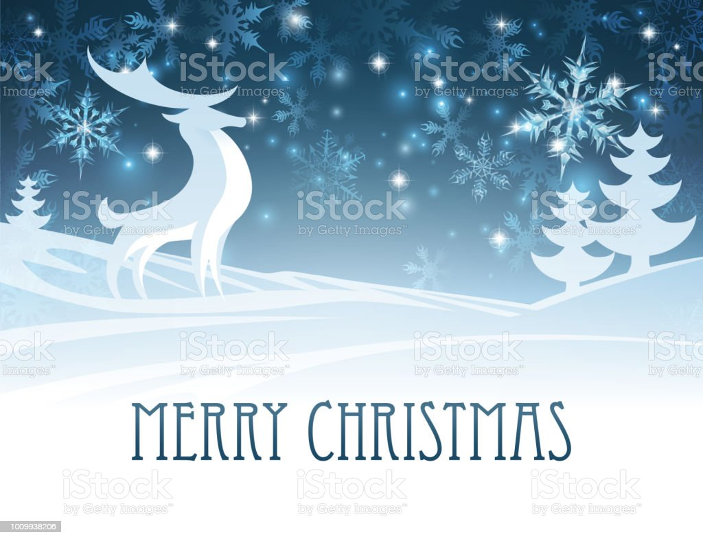 Merry Christmas Winter Landscape Deer Scene vector art illustration