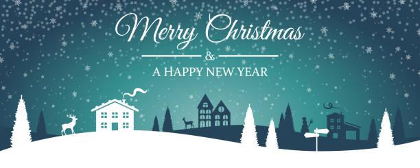 Merry christmas winter landscape skyline silhouette Merry christmas winter landscape skyline silhouette village stock illustrations