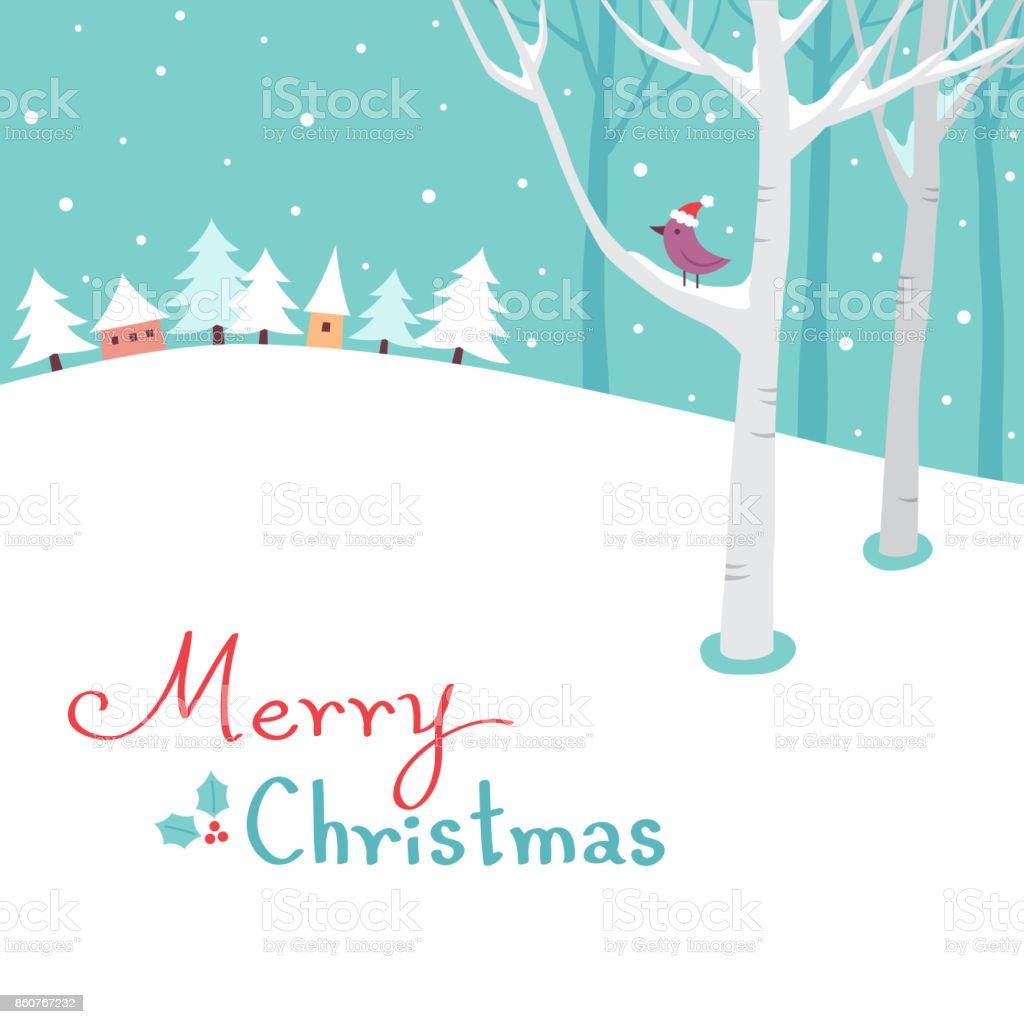 Merry Christmas winter landscape vector art illustration