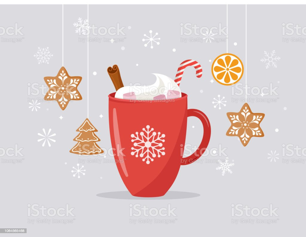 Merry Christmas, winter scene with a big cocoa mug and homemade gingerbread, vector concept illustration - Royalty-free Amizade arte vetorial