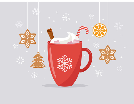 Merry Christmas, winter scene with a big cocoa mug and homemade gingerbread, vector concept illustration