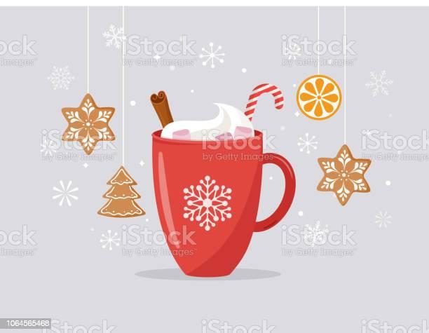 Merry Christmas Winter Scene With A Big Cocoa Mug And Homemade Gingerbread Vector Concept Illustration - Arte vetorial de stock e mais imagens de Amizade