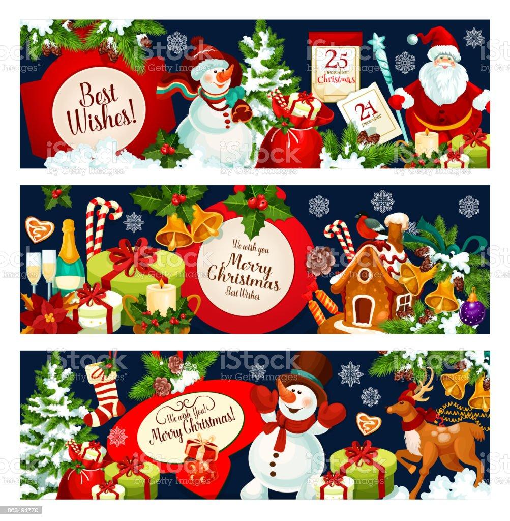 Grüße Frohe Weihnachten.Frohe Weihnachten Wünschen Vektor Gruß Banner Stock Vektor Art Und