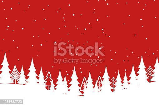 istock Merry Christmas with Christmas tree on red background. 1281632723