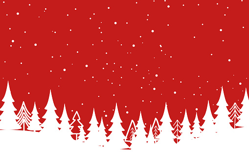 Merry Christmas with Christmas tree on red background.