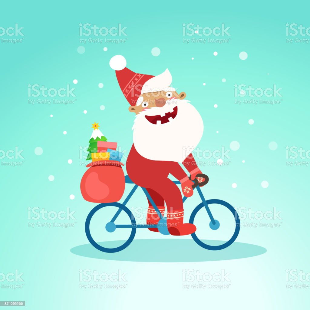 Merry Christmas With Cute Santa Claus On Bicycle Stock Vector Art ...