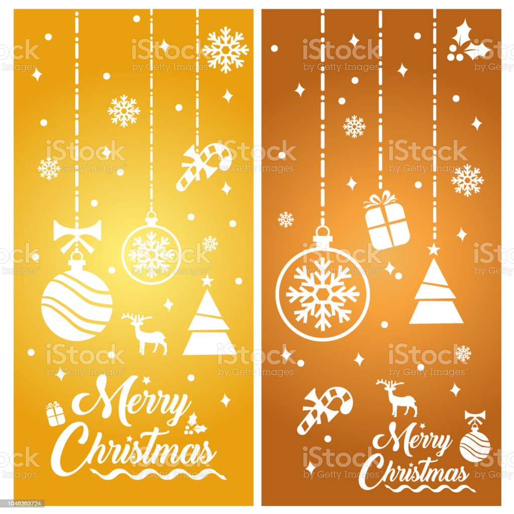 Merry Christmas With Decorations And Greetings Banner Stock Vector