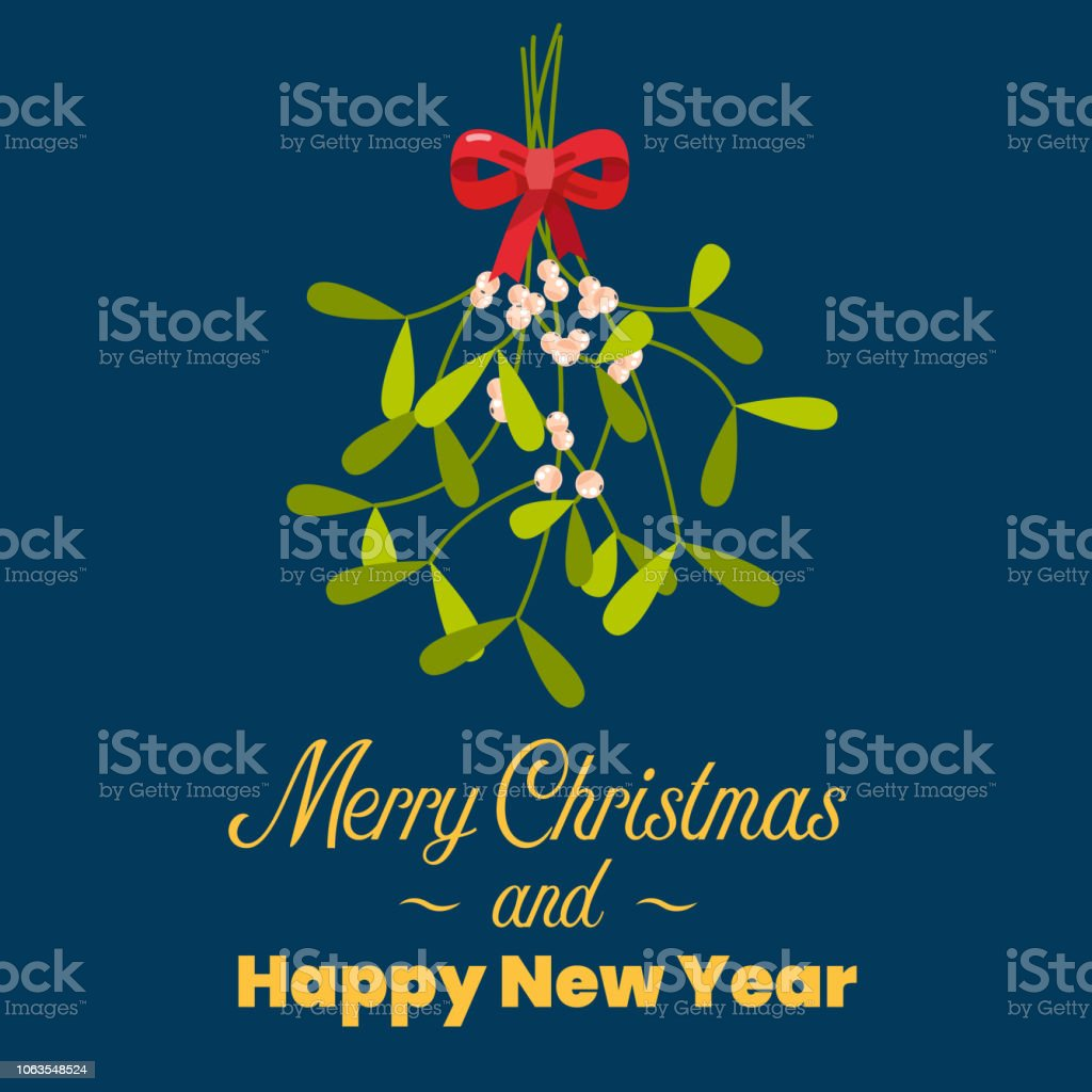 Merry Christmas with hanging mistletoe vector art illustration
