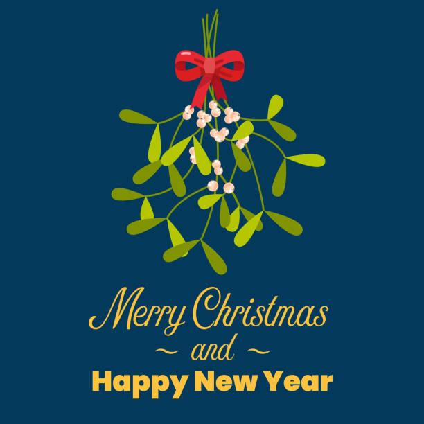 merry christmas with hanging mistletoe - kiss stock illustrations