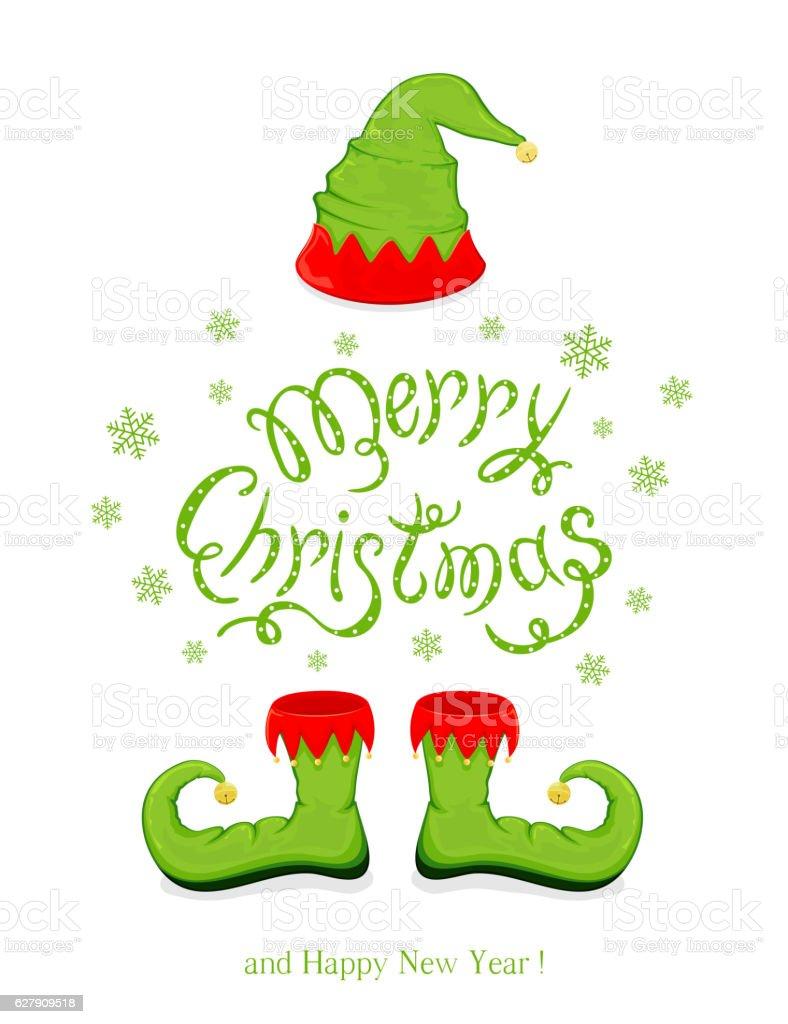Ilustración de Merry Christmas With Hat And Shoes Elf y más banco de ...