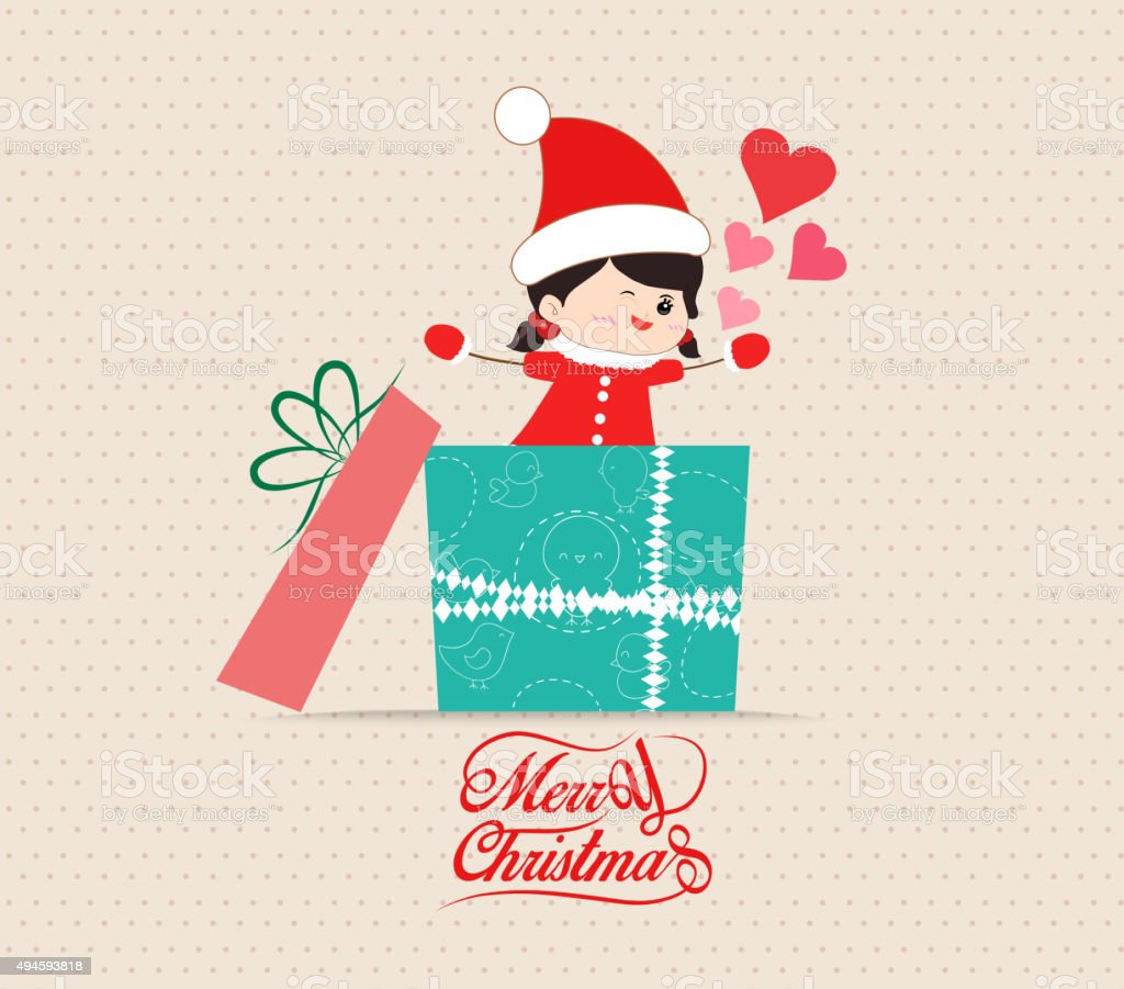 Merry Christmas With Love Kid Greeting Card With Gift Stock Vector