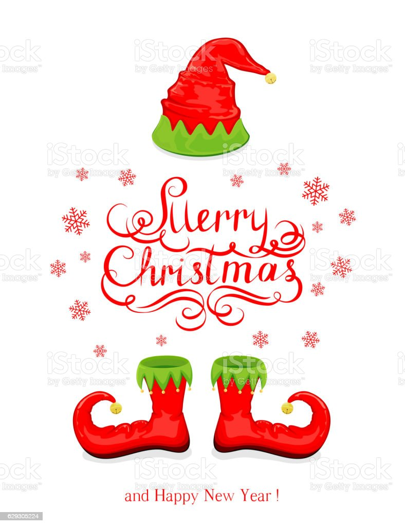 Ilustración de Merry Christmas With Red Elf Hat And Shoes y más ...