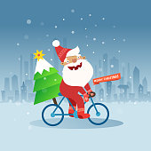 Merry Christmas with Santa Claus and christmas tree on bicycle